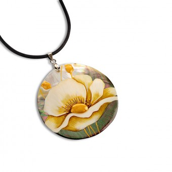 """White Flower"" Lacquered Pendant"