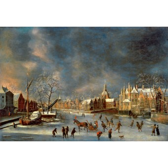 Winter View of Leyden. By Abraham Beerstraten