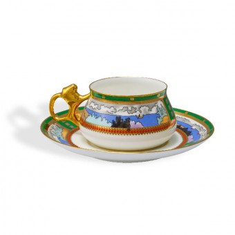 "Cup and Saucer Set ""Village on the Lake"". By Ivan Bilibin"