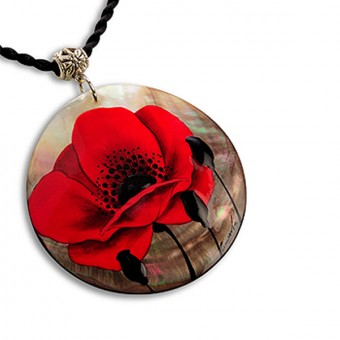 """Red Flower"" Lacquered Pendant (round-shaped)"
