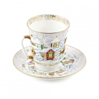 "Cup and Saucer Set ""Winter Day"""