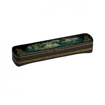 "Lacquer box ""Panorama of St Petersburg with Gryphons"" Kholuy"